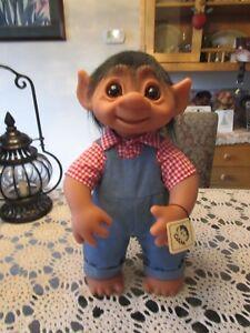 "GIANT HENRY w/ TAG (Light Denim, Checkered Shirt) - 17"" Dam Troll Doll - NEW"