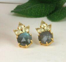 Lemon Topaz And Labradorite Gemstone 925 Silver Gold Plated Stud Earrings