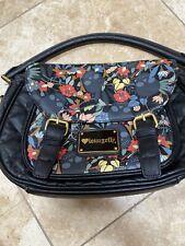 "Loungefly Black Floral Skull Handle Bag Purse 12""x8""x6"""