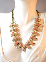 """Vintage 1950' Thermoset Pink Lucite Gold Tulip Flower 16""""  Choker Necklace"""