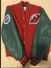 New Jersey Devil Leather Like Jacket Green and Red Size XL