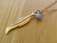 Opal necklace, gold necklace, gold feather, feather pendant, delicate necklace,