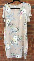 Beige Floral Print Linen Dress Summer Short Sleeves NWT sizes 10 12 14 16 18