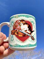 Vintage Coffee Mug Vandor Victorian Memories Cat Heart Violin Calico ❤️sj11h2s