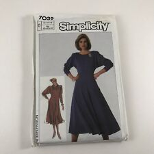 Vintage Simplicity Dress With Detachable Cowl Sewing Pattern 1980s Uncut 7039