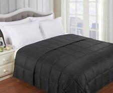 Twin/TwinXL Black All Season Reversible Solid/ Stripe Microfiber Blanket