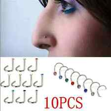 10X Lots Crystal Surgical Steel Screw Nose Hoop Ring Studs Body Piercing Jewelry