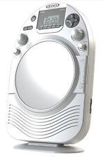 Jensen Shower Radio AM FM CD Fog-Resistant Mirror Clock White for Bathroom