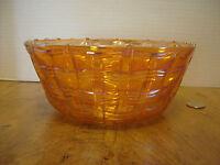"Dugan Basket Weave Carnival Glass Serving Bowl Iridescent 7 3/8"""