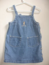 RALPH LAUREN GIRLS JEANS DRESS JUMPER size 4 4T NAVY BLUE DENIM 100% COTTON BEAR