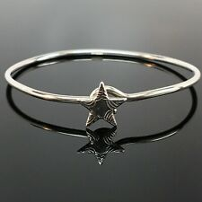 Sterling Silver STAR BANGLE Charm Bracelet STACKING Summer Jewelry HOOK Engraved