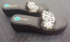 Nine West Women's Brown Sandal Platform Slides, Size 8