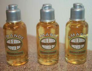 3 x L'occitane Amande Huile De Douche Shower Oil 1.18 oz / 35mL travel size 3.54