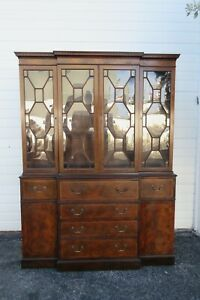 Flame Mahogany Inlay Two Part Breakfront China Display Cabinet Cupboard 2366