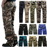 Men's Tactical Cargo Camo Military Combat Pants Shorts Baggy Work Army Trousers