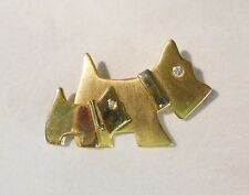 Vintage schnauzers scottish terrier two dogs brooch pin gold tone