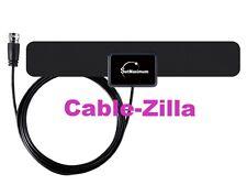 HDTV VHF UHF Indoor Dual Band Flat TV Antenna Black