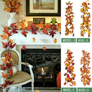 1.7M Artificial Autumn Fall Maple Leaves Garland Hanging Rattan Home Party Decor
