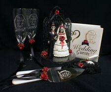 Day of the DEAD Halloween Wedding Cake Topper LOT Glasses server  BOOK Halloween