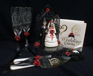 Day of the DEAD Halloween Wedding Cake Topper LOT Glasses server  BOOK Halloween