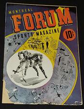 1943/44 - MONTREAL CANADIENS vs BOSTON BRUINS - MONTREAL FORUM - PROGRAM