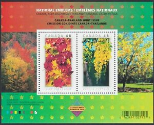NATIONAL EMBLEMS = JOINT Issue with THAILAND = SS Canada 2003 #2001b MNH