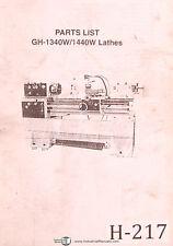 Acra Birmingham Gh 1340w And Gh 1440w Lathe Parts Manual