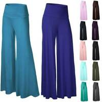 Womens High Waist Yoga Pants Flared Casual Wide Leg Leggings Palazzo Trousers G5