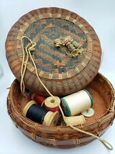 """Asian Antique Chinese Sewing Basket 7"""" Tassels Thread Needles"""