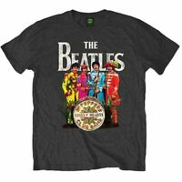 Mens The Beatles Sgt Peppers Print Design Black T-Shirt - Unisex Music Tee