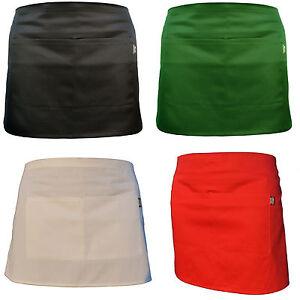 Plain Black Half Size Waist Waiter Waitress Apron for Bar café Pub 2 Pockets.