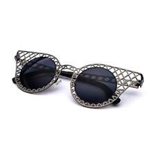 Women's SUNGLASSES Fashion Cut-Out Black Metal Frames 100% UV400 Protection