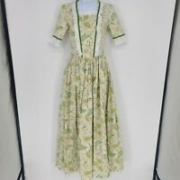 Vintage womens Modest Floral Print Long eyelet trim dress size XS green