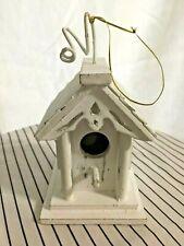 Euc White Washed Hanging Decorative Bird House