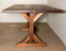 Farmhouse Table with Wood Trestle Base, Live Edge Walnut Farmhouse Table, Walnut