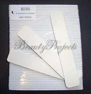 "50pc White Nail Files 80/80 Grit 7x1"" Jumbo Acrylic Nail File White Center"