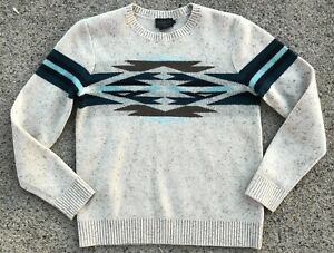 Pendleton Southwestern Aztec Print Lambs Marino Wool Sweater Mens S