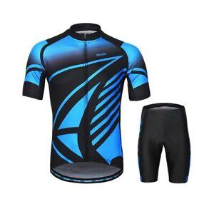 Men Cycling Jersey Sets Summer Bicycle Shirts MTB Bike Padded Shorts Quick Dry