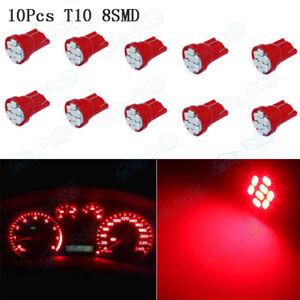 10Pcs T10 158 194 Wedge Red Speedometer Instrument Gauge Cluster LED Light XB