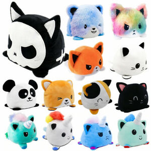 Cute Double-Sided Flip Reversible Unicorn Cat Plush Toys Funny Doll Animals Gift