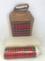 VTG 1973 Red Plaid 1 QT THERMOS Vacuum Bottle Lunch Box & BAG Carry CASE TOTE