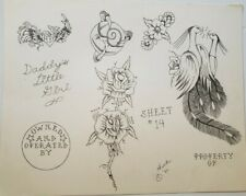 vintage original '86 tattoo flash danny monk graphite daddys girl rose peacock