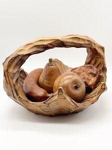 """Vtg Folk Art Hand Carved Burlwood Pod Twisted Handle Wooden Fruit Basket 9""""L 7""""H"""