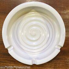 "Retired RACKLIFFE Blue Hill Maine ME Pottery WHITE ASHTRAY Ceramic 6"" Ash Tray"
