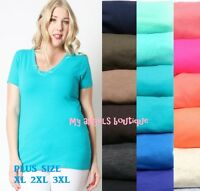 Women Plus Size Basic V NECK  Short Sleeve Tee T Shirt Stretch Cotton  1X 2X 3X