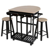 Space Saving Foldable Tabletop Dining Table Set Wood Kitchen Island W/ 2 Stools