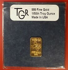 Texas .999 Fine Gold Bar. 1/50 OZ 24K TGR ingot/bar/bullion/medal/token/exonumia