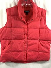 Lands End Women's Pink Puffer Vest Goose Down Size Large 14-16