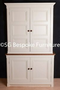 Hand Made Kitchen Larder Cupboard painted in Farrow & Ball New White