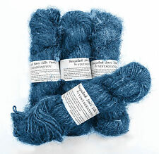 100g Recycled Sari Silk Yarn Hand-spun Blue Soft Yarns